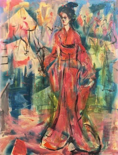 'Courtesan', Sausalito, North Beach, San Francisco Bay Area Expressionist Oil