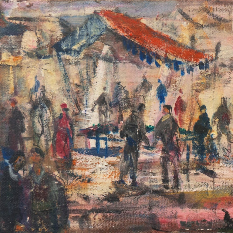 'Market Scene', Sausalito, North Beach, San Francisco Bay Area Expressionist Oil - Post-Impressionist Painting by Pascal Cucaro