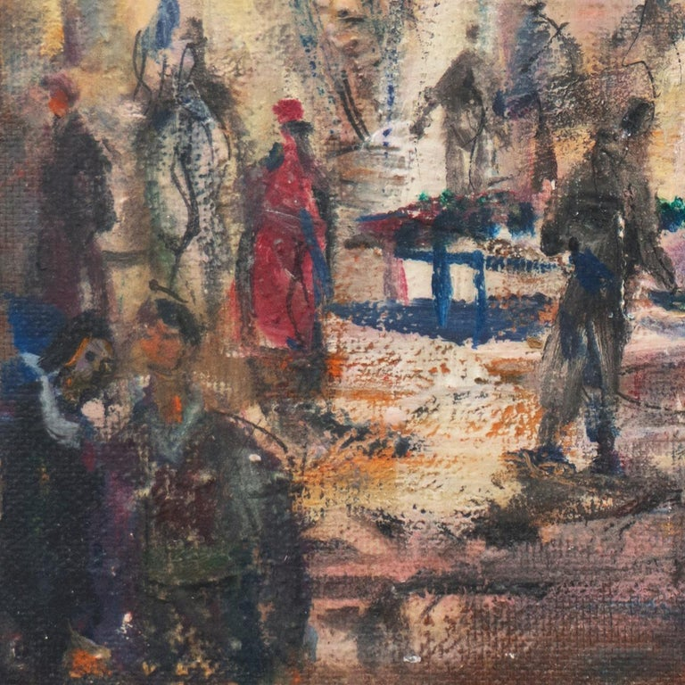 'Market Scene', Sausalito, North Beach, San Francisco Bay Area Expressionist Oil - Brown Figurative Painting by Pascal Cucaro