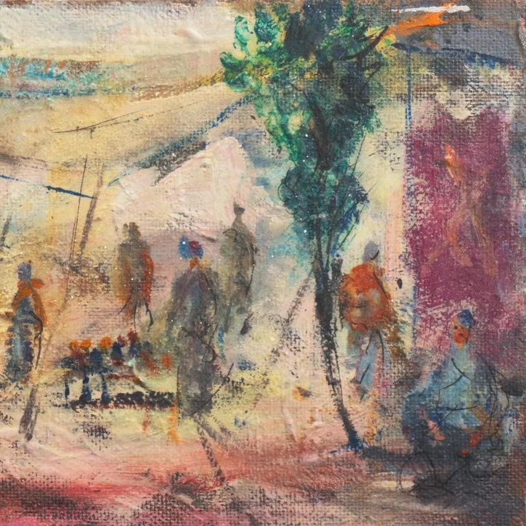 'Market Scene', Sausalito, North Beach, San Francisco Bay Area Expressionist Oil For Sale 1