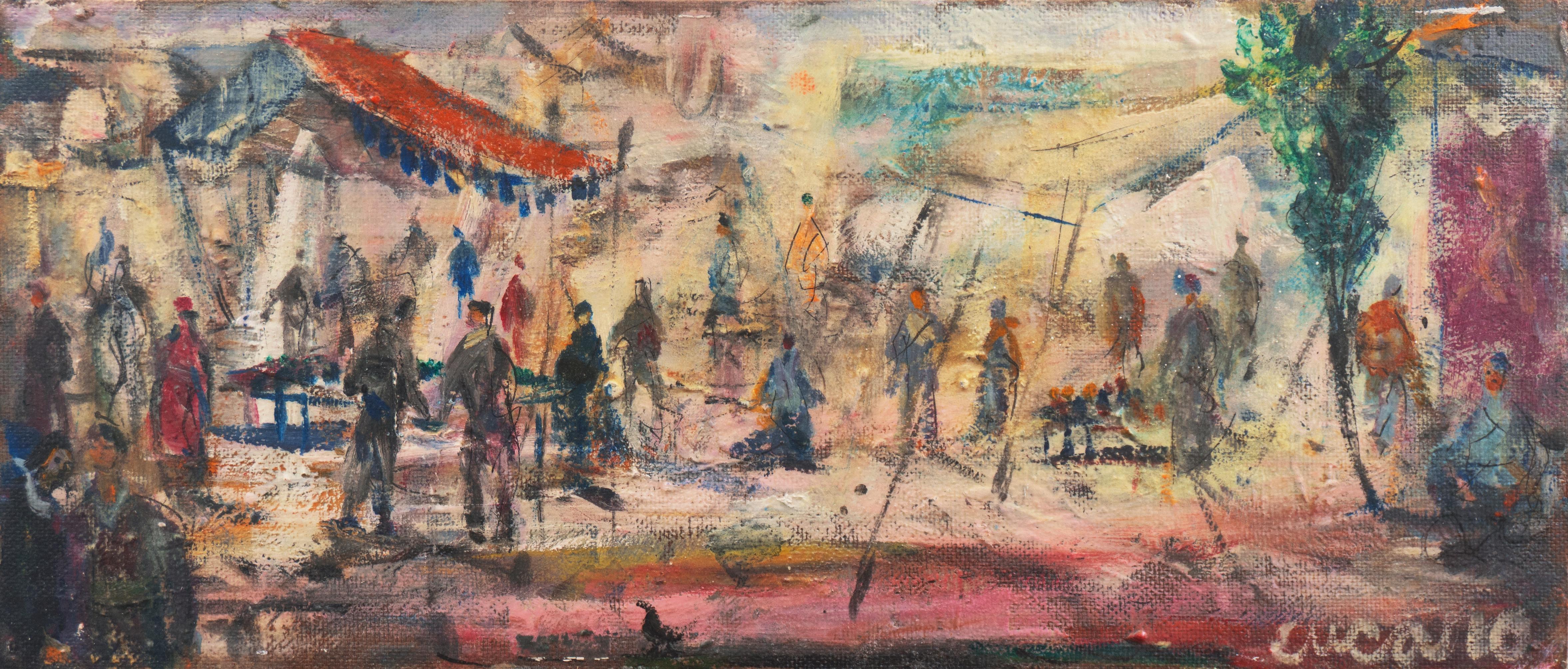 'Market Scene', Sausalito, North Beach, San Francisco Bay Area Expressionist Oil