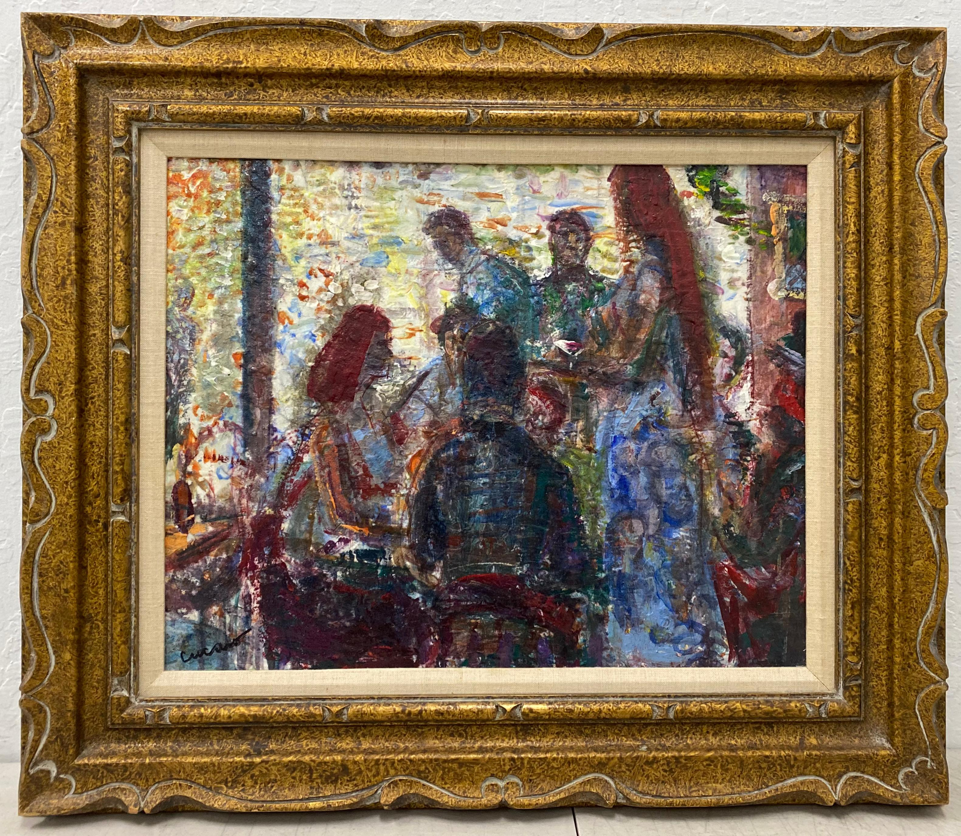 "Pascal (Pat) Cucaro ""Cafe Scene"" Original Oil Painting C.1960"
