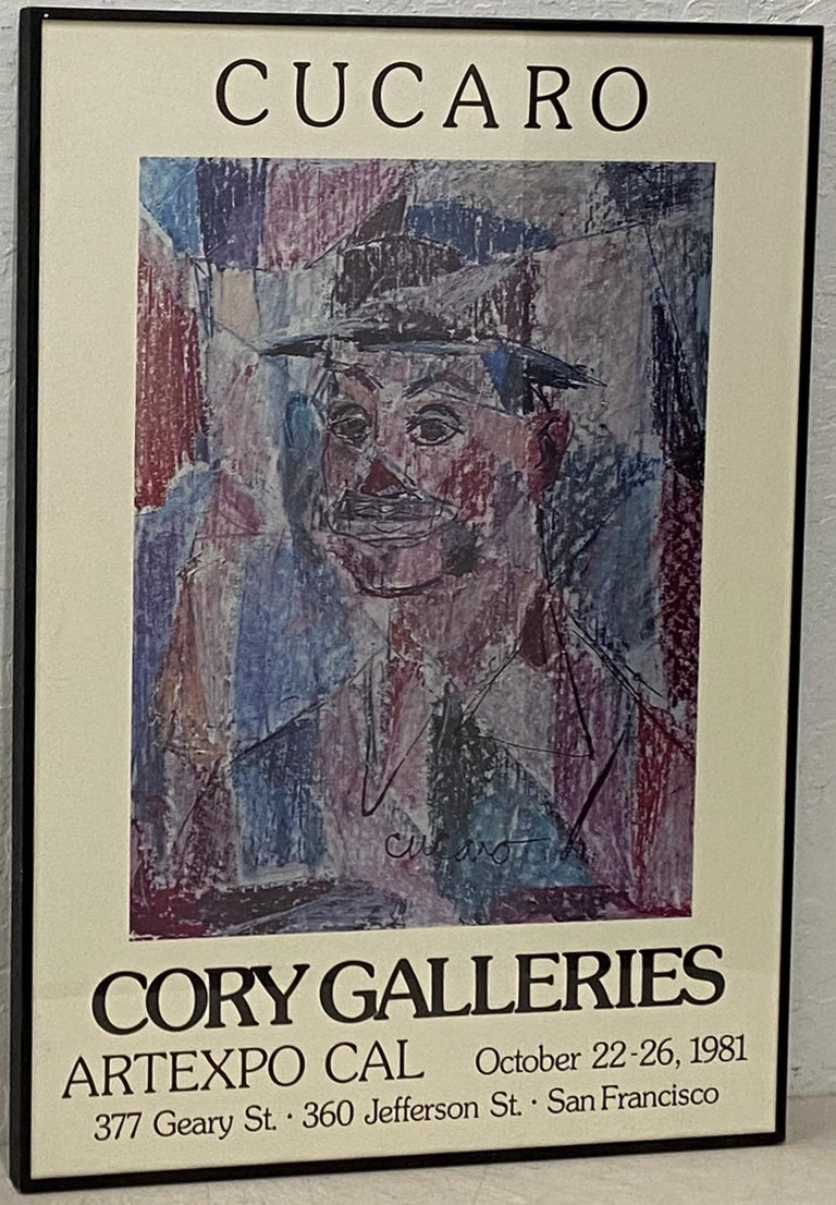 "Pascal Cucaro Portrait Print - Vintage Cucaro ""Cory Galleries San Francisco"" Exhibition Poster C.1981"
