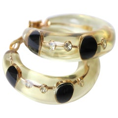 Pascal Morabito Hoop Earrings, 18 Karat Yellow Gold, Diamonds and Onyx in Resin