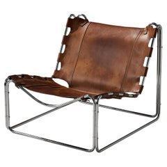 Pascal Mourgue 'Fabio' Lounge Chair in Patinated Leather
