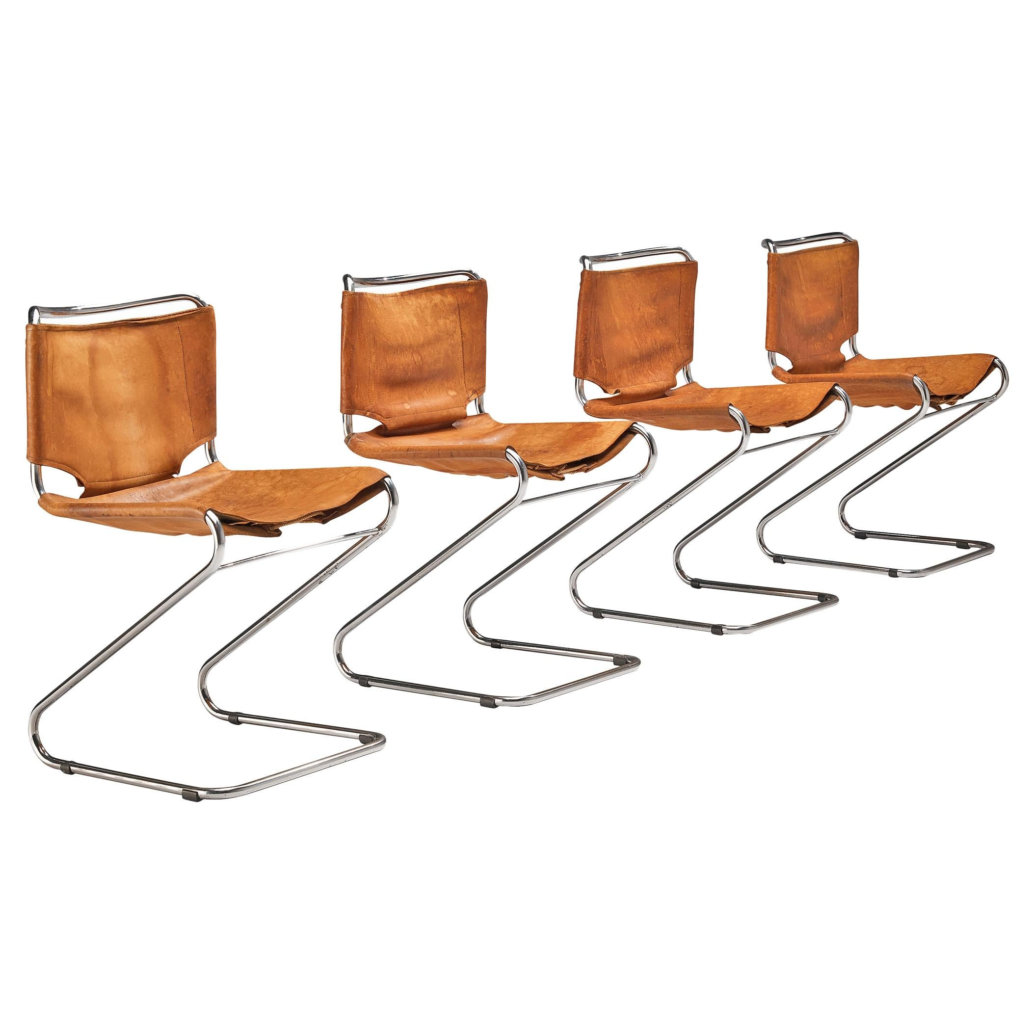 Pascal Mourgue Set of 4 'Biscia' Chairs in Cognac Leather