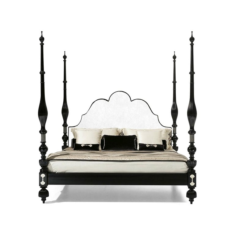 Marrakesh Four Poster Pacha Eastern King size Bed with white leather headboard. New, Made in Italy.