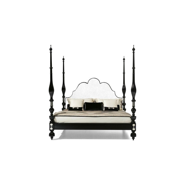 Italian Marrakesh Four Poster Pacha King Size Bed, by Oak Design, Made in Italy For Sale