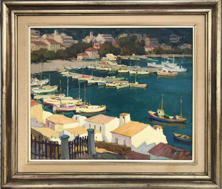Leisure port Costa Brava Spain oil on canvas painting - Painting by Pascual Bueno Ferrer