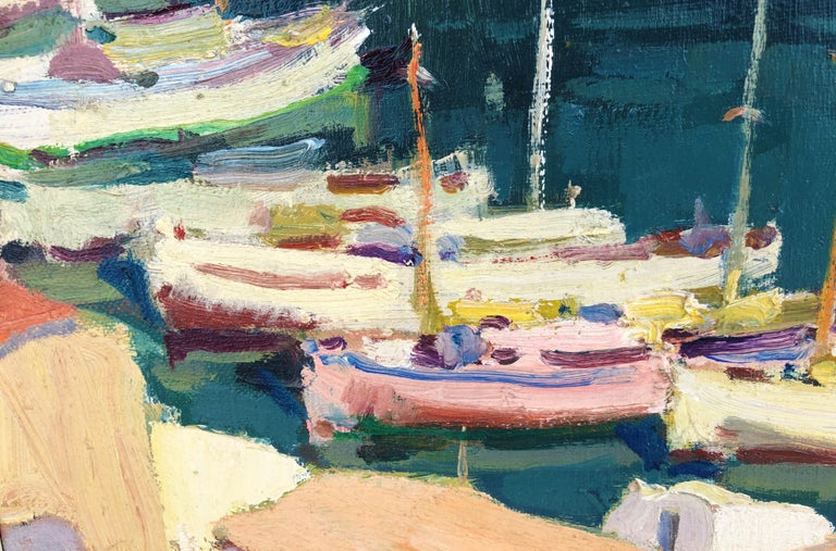 Leisure port Costa Brava Spain oil on canvas painting For Sale 1