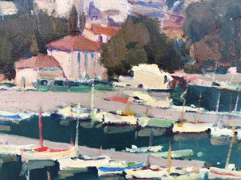 Leisure port Costa Brava Spain oil on canvas painting For Sale 2