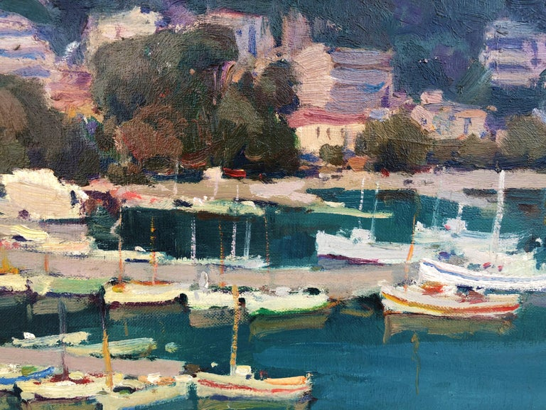 Leisure port Costa Brava Spain oil on canvas painting For Sale 3