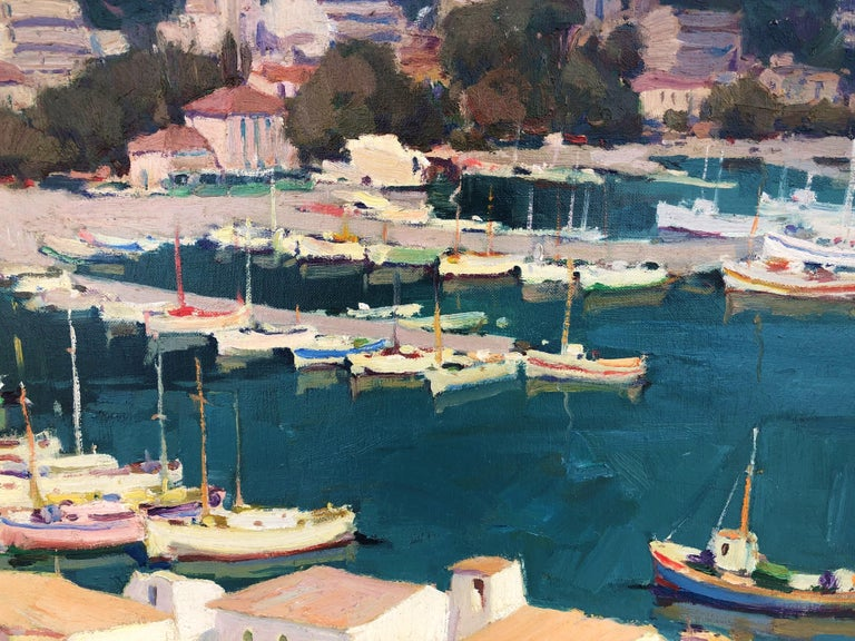 Leisure port Costa Brava Spain oil on canvas painting For Sale 4