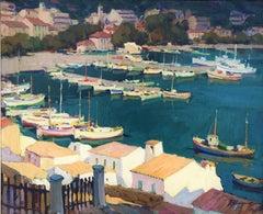 Leisure port Costa Brava Spain oil on canvas painting