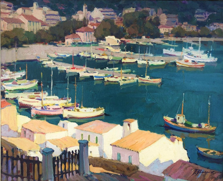 Pascual Bueno Ferrer Landscape Painting - Leisure port Costa Brava Spain oil on canvas painting