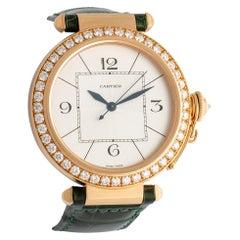 Pasha Cartier Diamond and Gold Wristwatch Certified