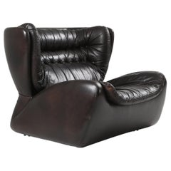 'Pasha' Lounge Chairs by Durlet in Dark Chocolate Leather
