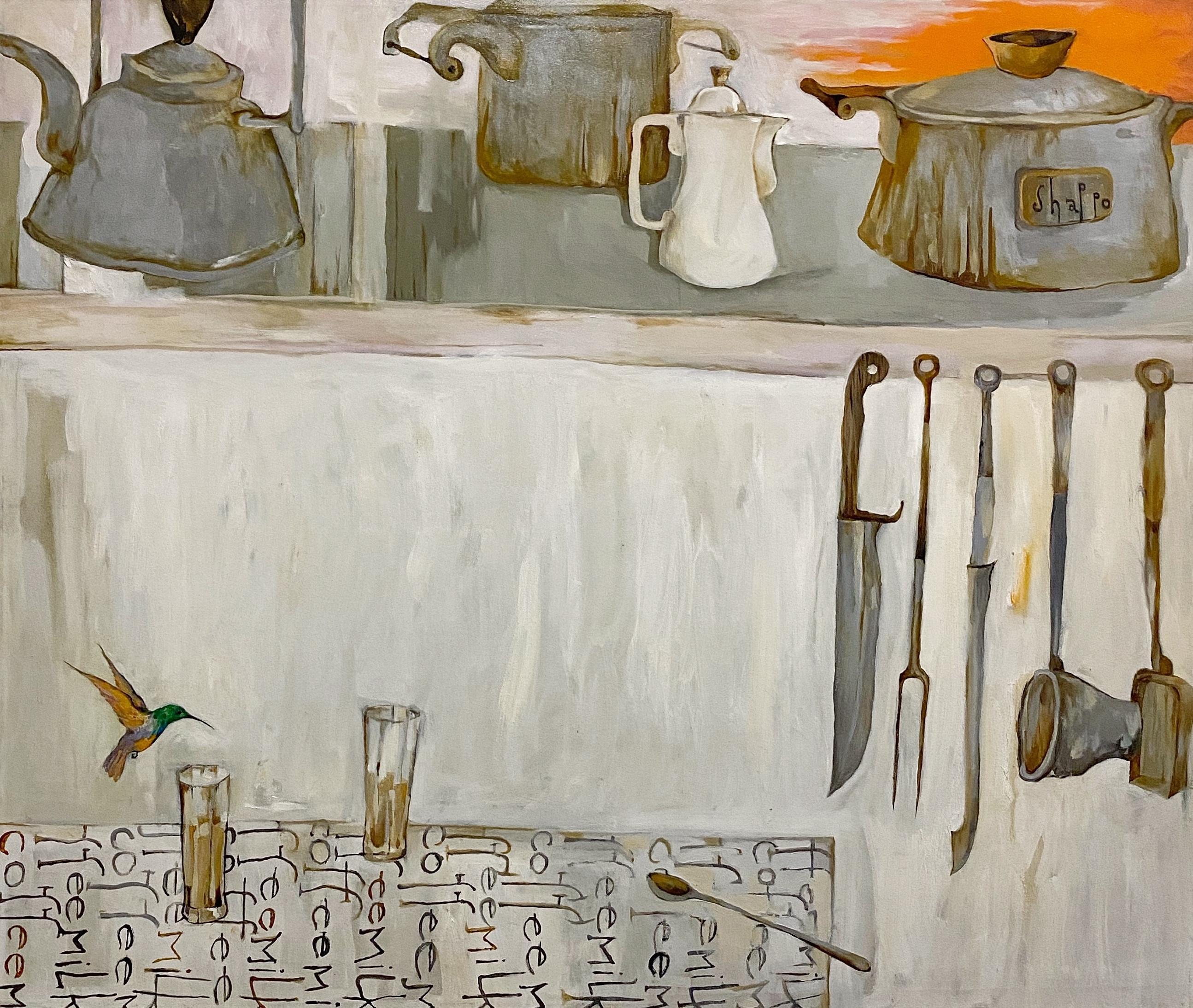 Coffee milk, Dawn in Delhi - Grey painting with kitchen scene and hummingbird