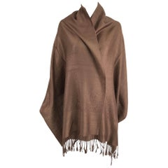 Pashmina and Silk Shawl in Chocolate Brown Unworn