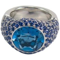 Pasquale Bruni 18 Karat White Gold Blue Sapphire and Blue Topaz Cocktail Ring