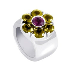Pasquale Bruni 18 Karat White Gold Tourmaline and Peridot Flower Band Ring