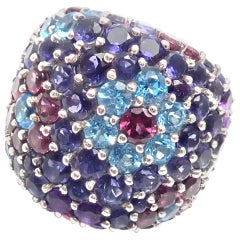 Pasquale Bruni Amethyst Blue Topaz Tourmaline White Gold Ring