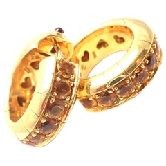 Pasquale Bruni Citrine Ruby Yellow Gold Hoop Earrings