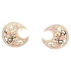 Pasquale Bruni Clip-On Moon and Stars White Gold and Diamond Earrings
