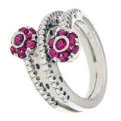 Pasquale Bruni Diamond and Tourmaline Flowers Ring