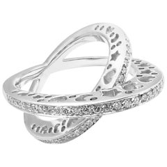Pasquale Bruni Diamond Crossover Large White Gold Ring