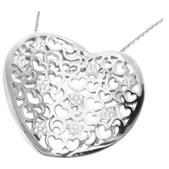 Pasquale Bruni Diamond Large Heart White Gold Pendant Necklace