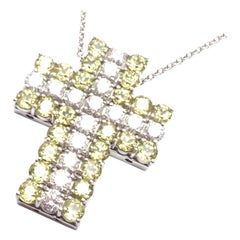 Pasquale Bruni Diamond Peridot White Gold Cross Necklace