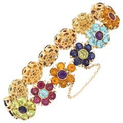 Pasquale Bruni Flower Bracelet Multi Gemstone 18 Karat Gold Peridot Tourmaline