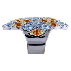 Pasquale Bruni Ghirlanda 18 Karat White Gold Sapphire, Topaz, and Citrine Ring