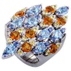 Pasquale Bruni Ghirlanda 18 Karat White Gold Sapphire, Topaz, and Citrine Ring