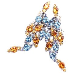 Pasquale Bruni Ghirlanda Sapphire Topaz Citrine White Gold Earrings