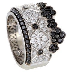 Pasquale Bruni Lulu 18 Karat White Gold Black and White Diamond Pave Band Ring