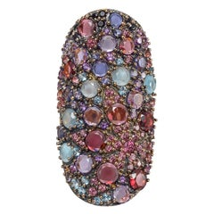 "Pasquale Bruni Multicolored Gemstone ""Mandala"" Shield Ring"
