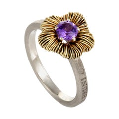 Pasquale Bruni Penelope Petite 18 Karat Yellow Gold and Silver Amethyst Ring