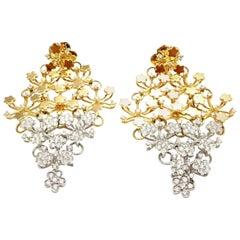 Pasquale Bruni Prato Fioroto Diamond White and Yellow Gold Earrings