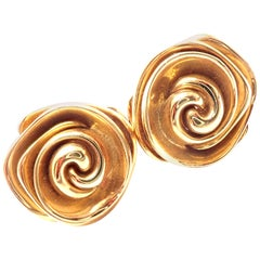 Pasquale Bruni Rose Flower Yellow Gold Drop Earrings