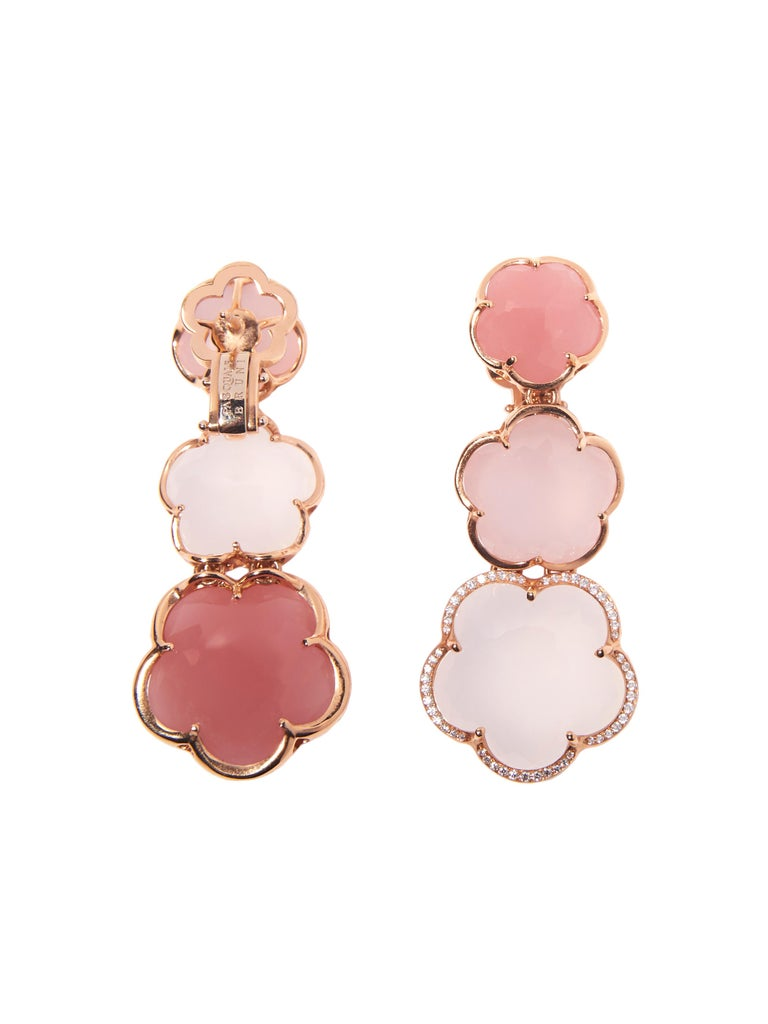 Modern Pasquale Bruni Rose Gold Earrings with Pink Chalcedony, Milky and Pink Quartz For Sale