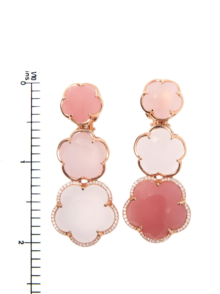 Pasquale Bruni Rose Gold Earrings with Pink Chalcedony, Milky and Pink Quartz In New Condition For Sale In Amsterdam, NL