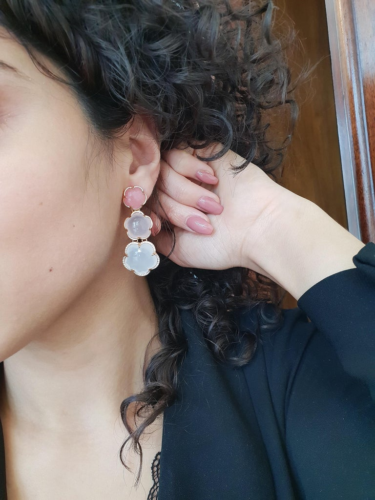 Women's Pasquale Bruni Rose Gold Earrings with Pink Chalcedony, Milky and Pink Quartz For Sale