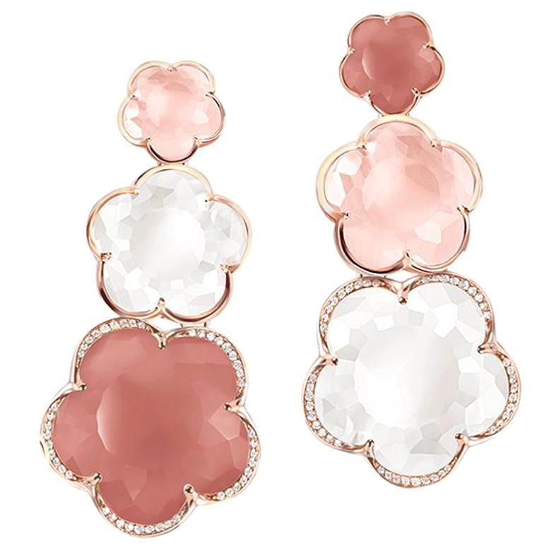 Pasquale Bruni Rose Gold Earrings with Pink Chalcedony, Milky and Pink Quartz