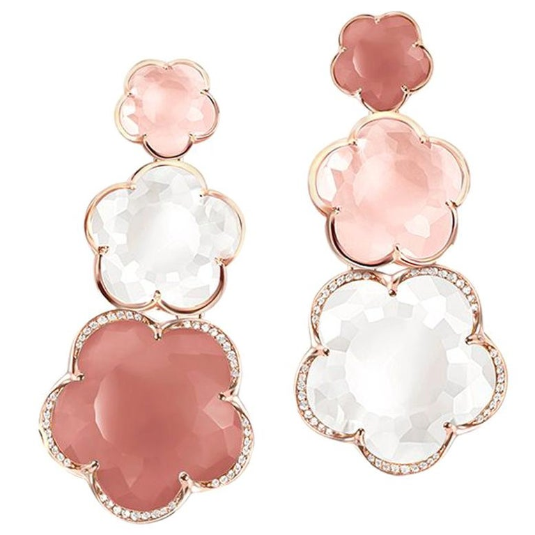 Pasquale Bruni Rose Gold Earrings with Pink Chalcedony, Milky and Pink Quartz For Sale