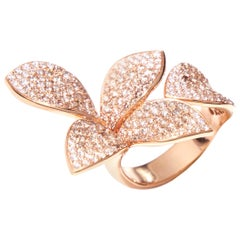 Pasquale Bruni Rose Gold Four Petal Paved Diamond Ring