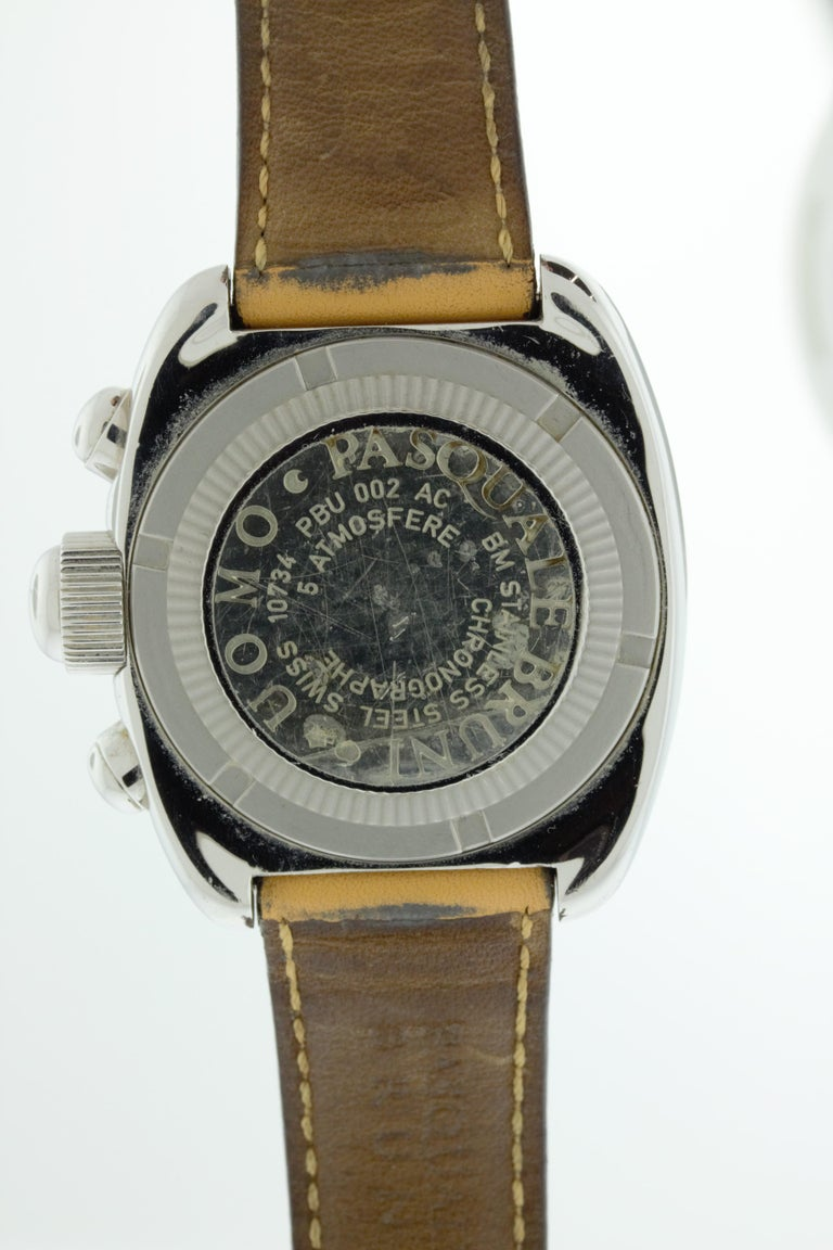 Pasquale Bruni Stainless Steel Chronograph Watch In Fair Condition For Sale In New York, NY