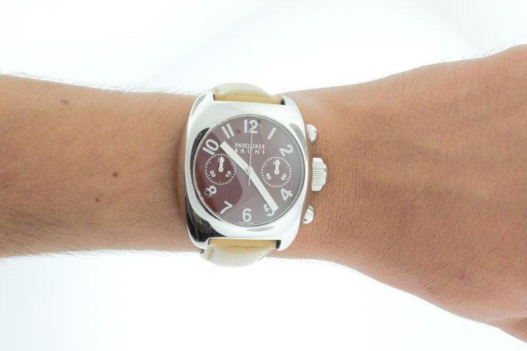 Pasquale Bruni Stainless Steel Chronograph Watch For Sale 1