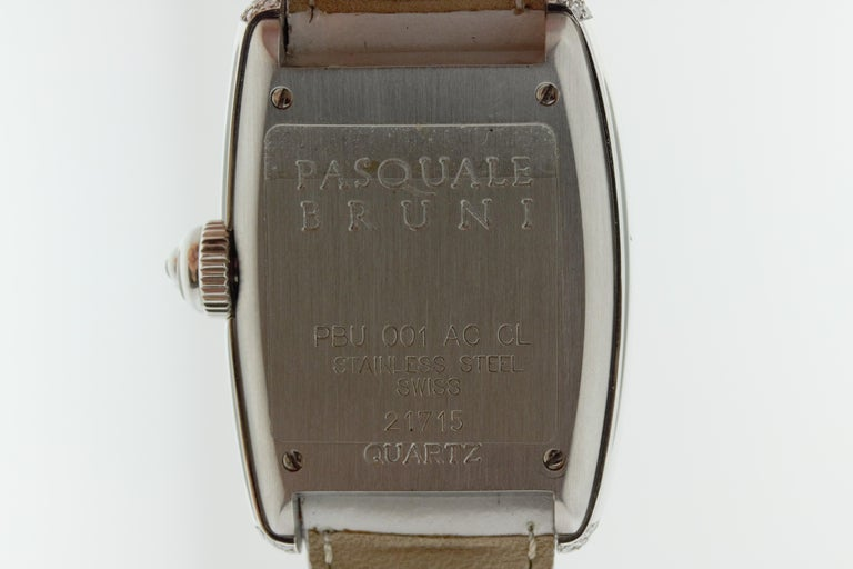 Pasquale Bruni Stainless Steel Diamond Marker Ladies Watch In Good Condition For Sale In New York, NY